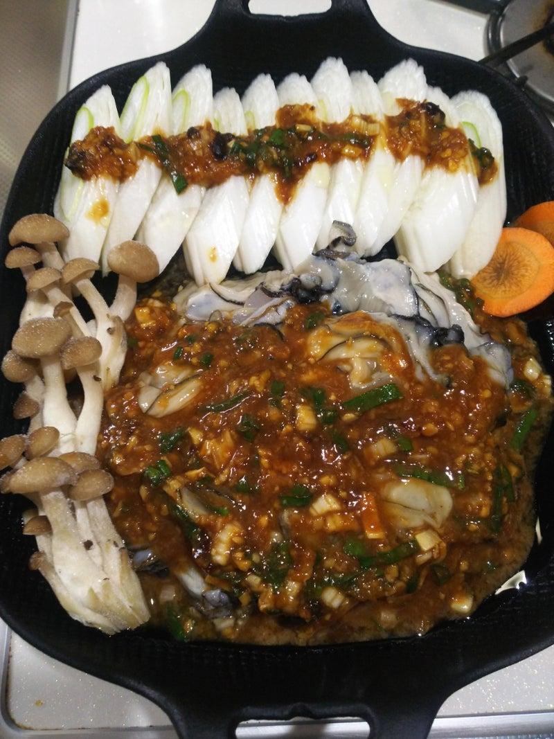 長ネギと牡蠣の味噌鉄板焼き 家庭菜園 料理 Etc