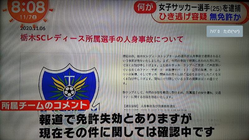 女子 サッカー 選手 逮捕