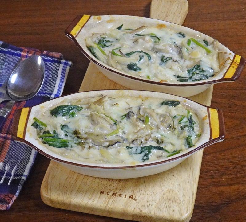 牡蠣とほうれん草の味の味噌ドリア