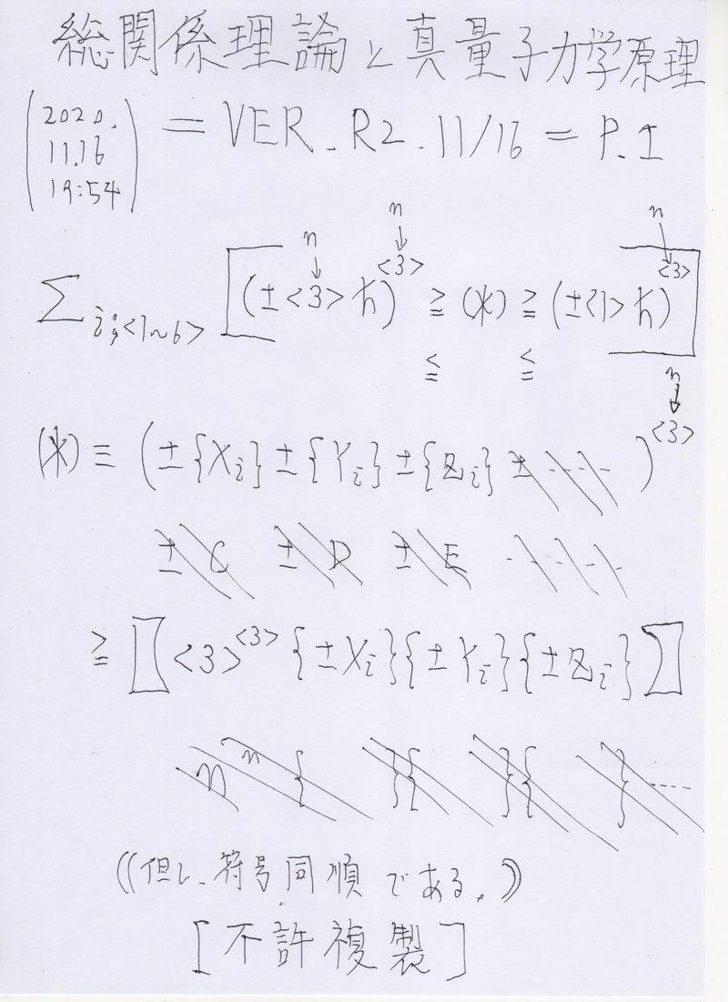 総関係理論と真量子力学原理 =VER.R2.11/16=P.1