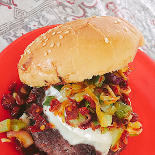 カラフルハンバーガーの画像