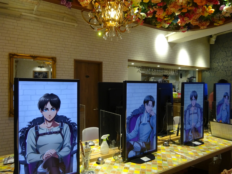 Attack on Titan special illustrations at the Charaum Cafe. Eren, Levi