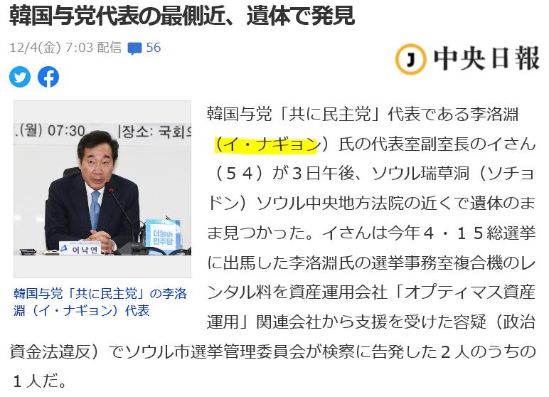 ☆韓国・与党代表の最側近、遺体で発見~次期大統領選に影響も | じぇ ...
