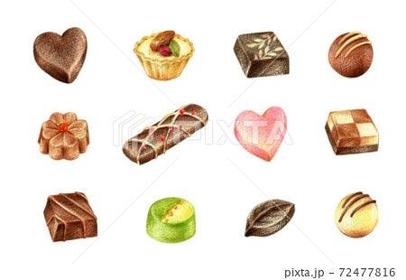チョコレートのイラスト 手描き色鉛筆画イラスト