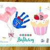 【2月の手形アート】happy birthdayの画像