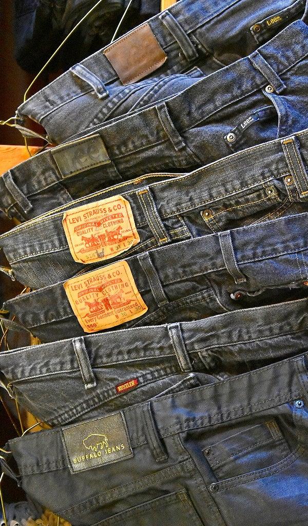 ブラックジーンズ黒デニムパンツ@古着屋カチカチ