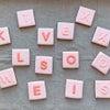 英語の単語ゲーム・スクラブル風バレンタインクッキーの画像