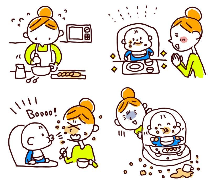 離乳食を食べ散らかす赤ちゃん