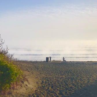 今朝の波チェックでは霧ガスっていて波が見えない〜混雑を避けてピークと時間ずらしてサーフィンを〜♪