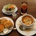 「進々堂」グリュイエールチーズで焼いたオニオングラタンスープ♪