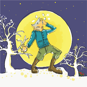 絵話 狼と月 ウルフムーンの画像