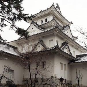 雪の大垣城(2021年1月30日撮影)の画像