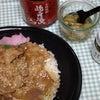 "senmachi食堂の豚丼と""地酒漬け青唐辛子""の画像"