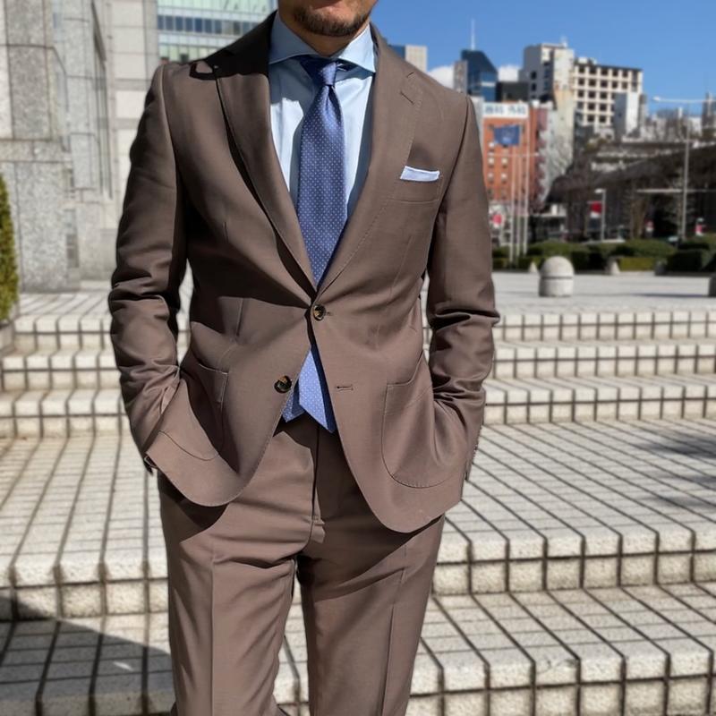 ウールセットアップ2釦スーツ モカブラウン 2211-AJ22J-2801