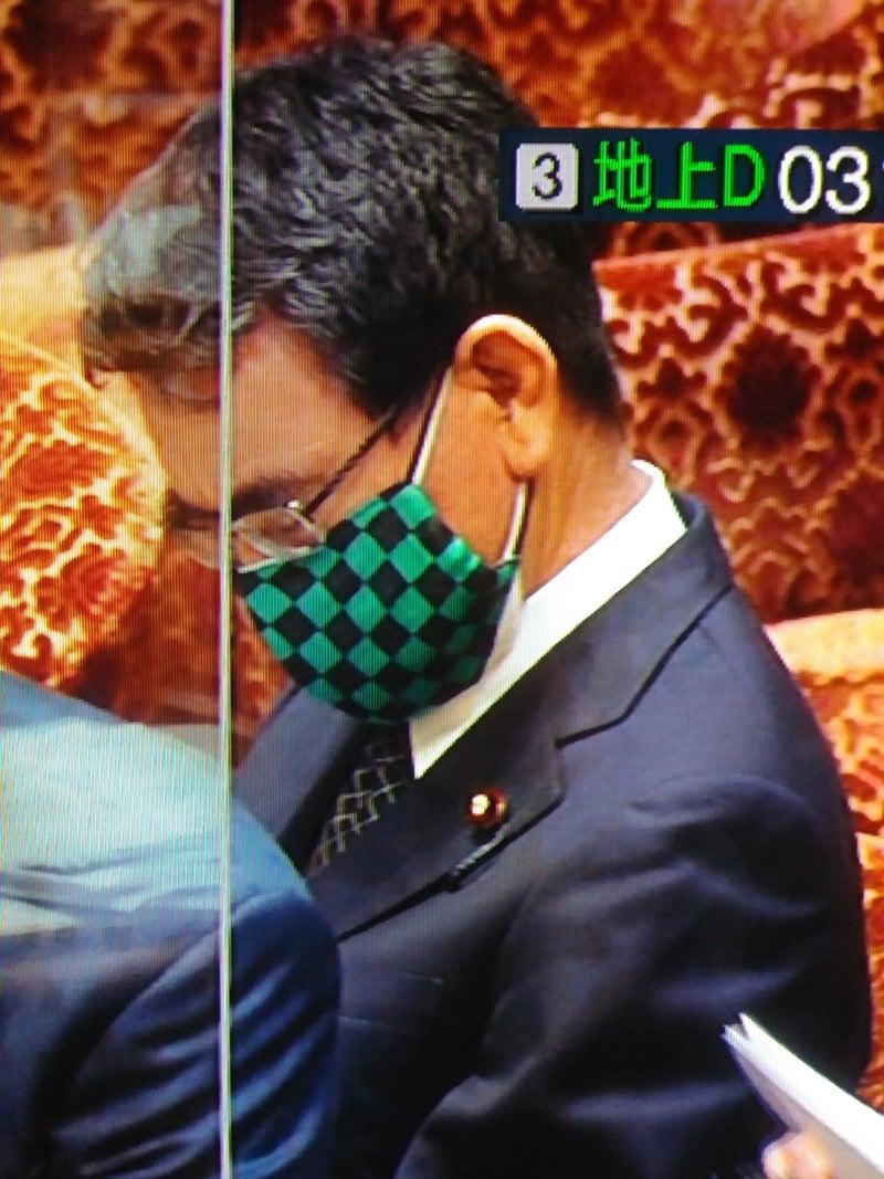 2月17日 国会中継 河野太郎行政改革大臣の鬼滅の刃炭治郎柄マスク着用♪(*^^*) | 土佐の日曜市~はちきんおばさんの独り言~