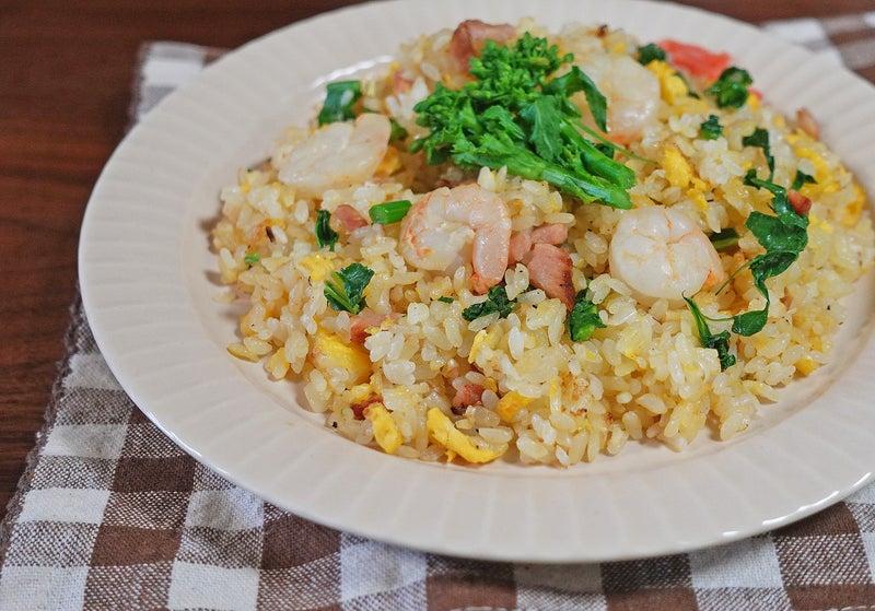 パラパラ!しっとり  海老と菜の花 焼豚の卵炒飯