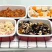【簡単な作り置き5品】無限人参/高野豆腐の含め煮/ポテトサラダ/ひじき煮/春菊の辛子胡麻和え