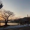 琵琶湖の夕日を眺めながらの画像
