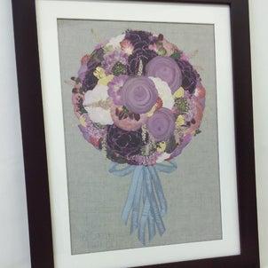 「プロポーズのアレンジのお花を押し花額に!!ウッドL・マホガニー」完成しました!!の画像