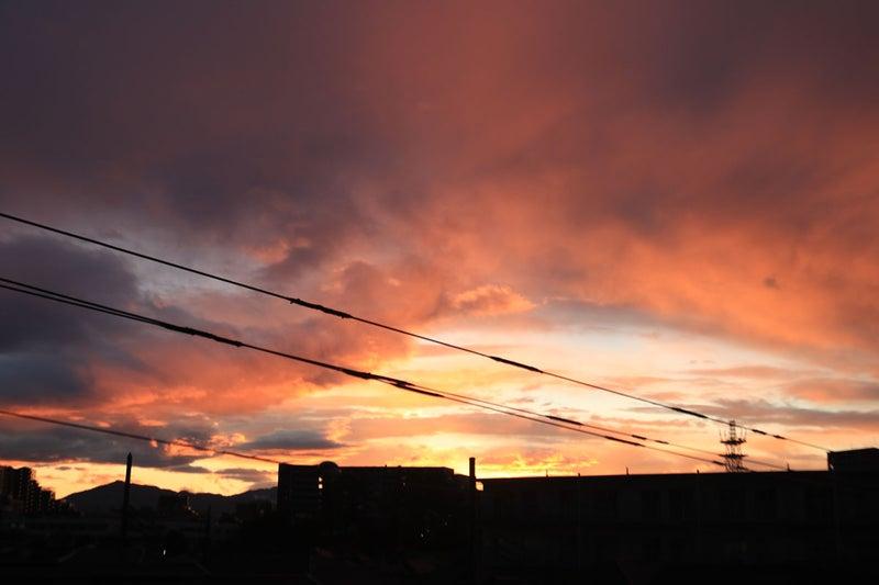 今日の雨上がりの夕焼け空。Twitterに上げたのとはちょっと違う写真