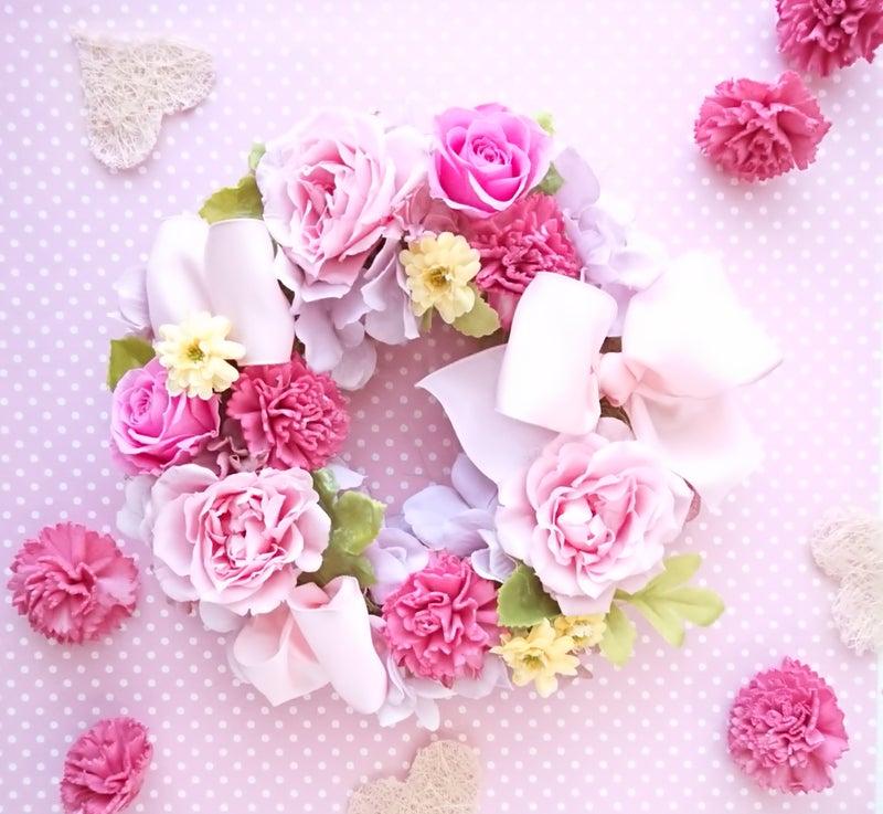 ピンクローズとリボンたっぷり♪    ご結婚、ご出産、お誕生日、母の日ギフトにもどうぞ☆