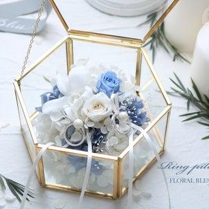 海外ウェディング風リングピロー・ブルー&ホワイト!の画像