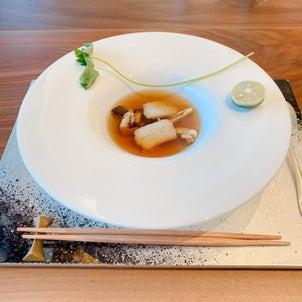 鱧と松茸の特製和牛コンソメスープ@鉄板焼 赤坂の画像