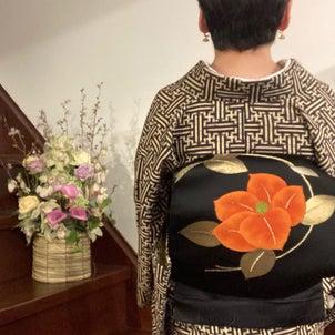ウールの着物を半幅帯と名古屋帯での画像