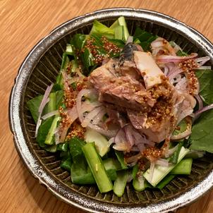 鯖缶と小松菜のサラダ マスタードドレッシングの画像