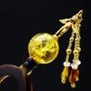 べっ甲18K天使の彫刻付琥珀玉かんざし《再》|邪気を祓い、人々の幸せ、世界平和への切なる願いを込の画像