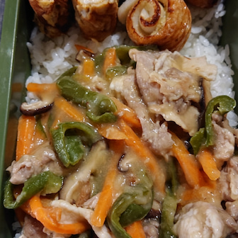 中華丼の夫弁当。