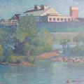 復興シリーズ1985-2000 油彩「川辺の繊維工場」