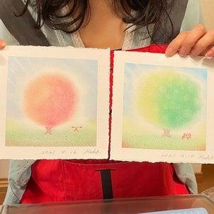 自分で描いた葉っぱからメッセージが!の画像