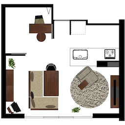 画像 マンションの家具の配置提案 ④ リビングと隣接する洋室とつなげて家具を配置!家具の配置換え提案も の記事より 28つ目