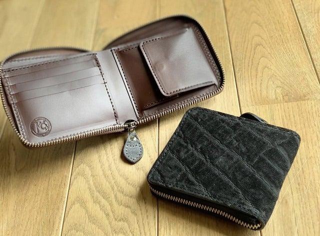 象革を使用した贅沢な二つ折り財布