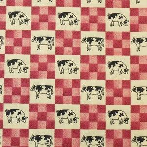 牛とブタと市松模様柄の布地 柄屋クリーマ店の画像