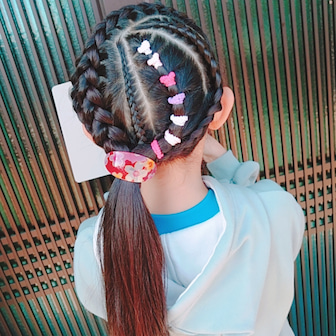 ☆編み込みヘアと井黒小芭内キーホルダー☆