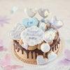 パステルパープルのチョコドリップケーキ バースデーケーキをオーダーいただきましたの画像