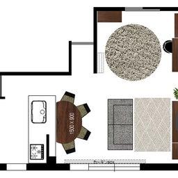 画像 マンションの家具の配置提案 ④ リビングと隣接する洋室とつなげて家具を配置!家具の配置換え提案も の記事より 21つ目