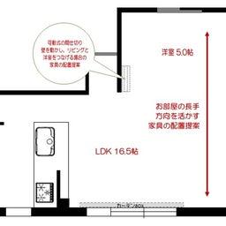 画像 マンションの家具の配置提案 ④ リビングと隣接する洋室とつなげて家具を配置!家具の配置換え提案も の記事より 3つ目