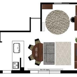 画像 マンションの家具の配置提案 ④ リビングと隣接する洋室とつなげて家具を配置!家具の配置換え提案も の記事より 25つ目