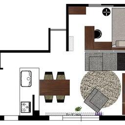 画像 マンションの家具の配置提案 ④ リビングと隣接する洋室とつなげて家具を配置!家具の配置換え提案も の記事より 11つ目