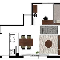 画像 マンションの家具の配置提案 ④ リビングと隣接する洋室とつなげて家具を配置!家具の配置換え提案も の記事より 2つ目