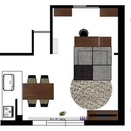 画像 マンションの家具の配置提案 ④ リビングと隣接する洋室とつなげて家具を配置!家具の配置換え提案も の記事より 6つ目