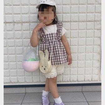 散歩とスーパー♡ミニー巾着♡姉妹コーデ♡アルジー、ピンクラテ