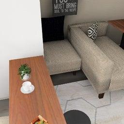 画像 マンションの家具の配置提案 ⑤ マンションの構造体の柱がお部屋の角にある間取りの家具の配置術 の記事より 9つ目