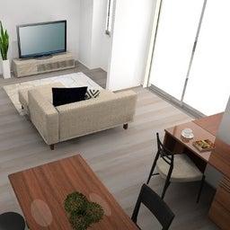画像 マンションの家具の配置提案 ⑤ マンションの構造体の柱がお部屋の角にある間取りの家具の配置術 の記事より 20つ目