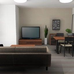 画像 マンションの家具の配置提案 ⑤ マンションの構造体の柱がお部屋の角にある間取りの家具の配置術 の記事より 3つ目