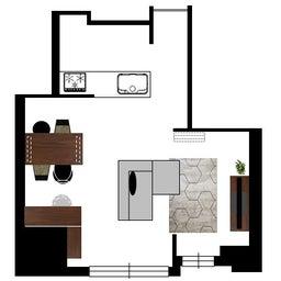 画像 マンションの家具の配置提案 ⑤ マンションの構造体の柱がお部屋の角にある間取りの家具の配置術 の記事より 19つ目