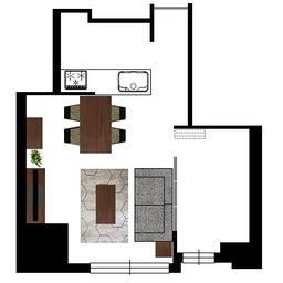 画像 マンションの家具の配置提案 ⑤ マンションの構造体の柱がお部屋の角にある間取りの家具の配置術 の記事より 2つ目